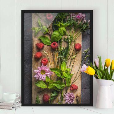 Poster con cornice - Flowers Raspberry Mint - Verticale 4:3