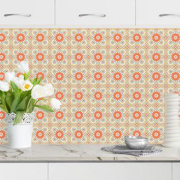 Rivestimento cucina - Motivo orientale con mattonelle colorate
