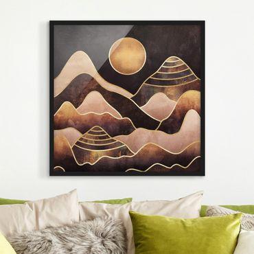 Poster con cornice - Golden Sun astratti Monti - Quadrato 1:1