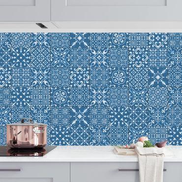 Rivestimento cucina - Motivo piastrelle blu scuro e bianco