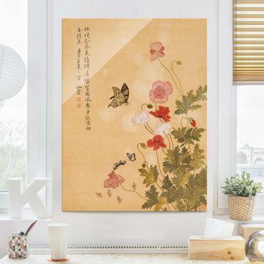 Quadro in vetro - Yuanyu Ma - Papaveri e farfalle - Verticale 4:3