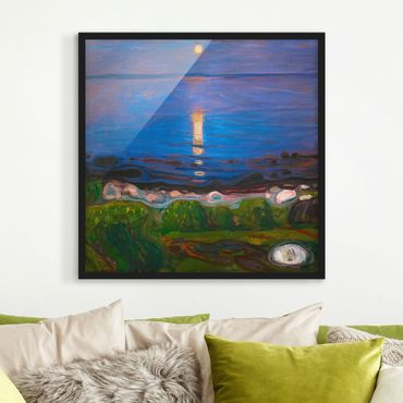 Poster con cornice - Edvard Munch - Summer Night On The Sea Beach - Quadrato 1:1