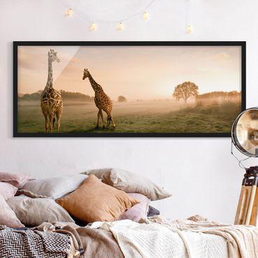 Poster con cornice - Giraffe Surreali - Panorama formato orizzontale