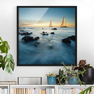 Poster con cornice - Sailboats In The Ocean - Quadrato 1:1