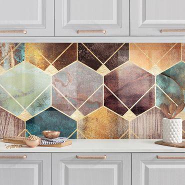 Rivestimenti cucina - Turquoise Geometria Golden Art Deco