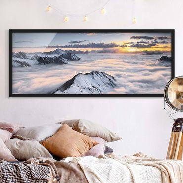 Poster con cornice - Vista Di Nubi E Le Montagne - Panorama formato orizzontale