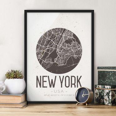 Poster con cornice - New York City Map - Retro - Verticale 4:3