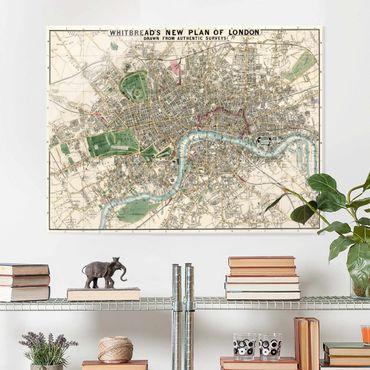 Quadro in vetro - Vintage Mappa Londra - Orizzontale 3:4