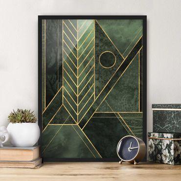 Poster con cornice - Forme geometriche oro verde smeraldo - Verticale 4:3