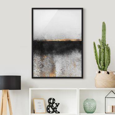 Poster con cornice - Estratto Golden Horizon Bianco e nero - Verticale 4:3