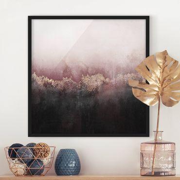 Poster con cornice - Alba Dorata Rosa - Quadrato 1:1