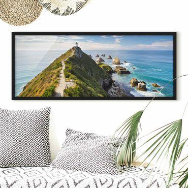 Poster con cornice - Nugget Point Lighthouse E Mare Zelanda - Panorama formato orizzontale