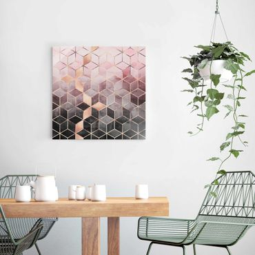 Quadro in vetro - Rosa Grigio d'oro Geometria - Quadrato 1:1