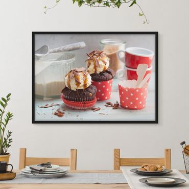 Poster con cornice - Vintage Cupcakes With Ice Cream - Orizzontale 3:4