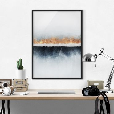 Poster con cornice - Golden Horizon Acquerello - Verticale 4:3