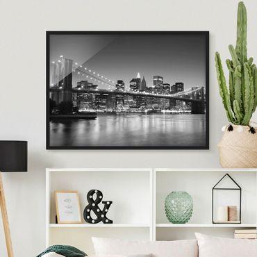 Poster con cornice - Brooklyn Bridge In New York II - Orizzontale 3:4
