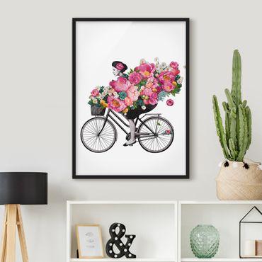 Poster con cornice - Illustrazione Donna in bicicletta Collage fiori variopinti - Verticale 4:3