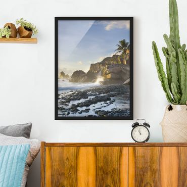 Poster con cornice - Sunset On The Island Paradise - Verticale 4:3