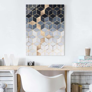 Quadro in vetro - Bianco d'oro Geometria Blu - Verticale 4:3