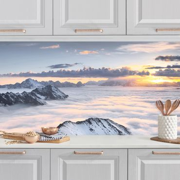 Rivestimento cucina - Vista di nuvole bianche e montagne