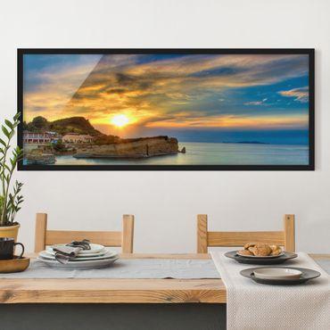 Poster con cornice - Tramonto Sopra Corfù - Panorama formato orizzontale