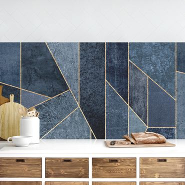 Rivestimenti cucina - Blu Geometria Acquerello