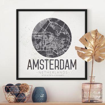 Poster con cornice - Mappa Amsterdam - Retro