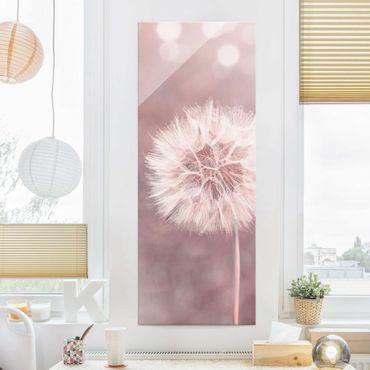 Quadro in vetro - Dandelion rosa bokeh - Pannello
