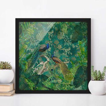 Poster con cornice - Shabby Chic Collage - Noble Peacock II - Quadrato 1:1