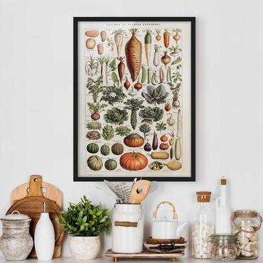Poster con cornice - Consiglio Vintage Verdure - Verticale 4:3