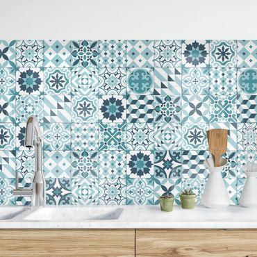 Rivestimento cucina - Piastrelle geometriche mix turchese