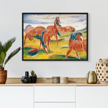 Poster con cornice - Franz Marc - Grazing Horses - Orizzontale 3:4