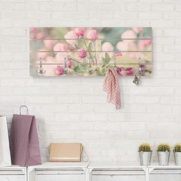 Appendiabiti in legno - Apple Blossom rosa bokeh - Ganci cromati - Orizzontale