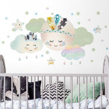 Adesivo murale - acquerello nuvole lunari stelle con piume