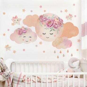 Adesivo murale - Nuvole lunari acquerellate e stelle con rose