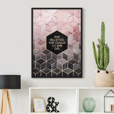 Poster con cornice - Ha creduto che potesse in oro rosa - Verticale 4:3