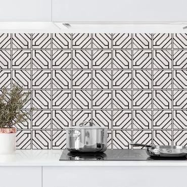 Rivestimento cucina - Motivo piastrelle rombi geometrici nero