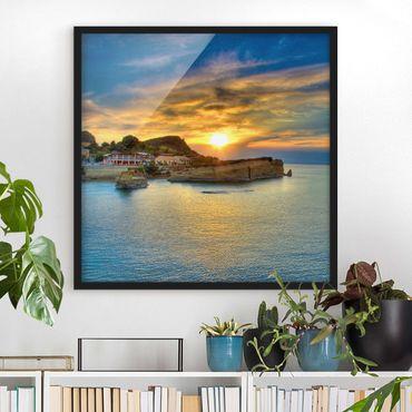 Poster con cornice - Sunset Over Corfu - Quadrato 1:1
