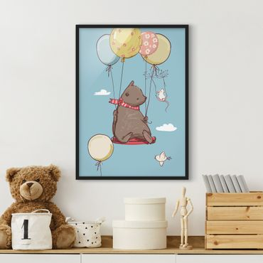 Poster con cornice - Bear And Mouse Flying - Verticale 4:3