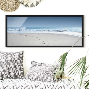 Poster con cornice - Orme Nella Sabbia - Panorama formato orizzontale