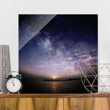 Quadro in vetro - Sole e le stelle in mare - Quadrato 1:1