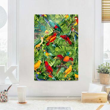 Quadro in vetro - Colorato collage - Parrot In The Jungle - Verticale 3:2