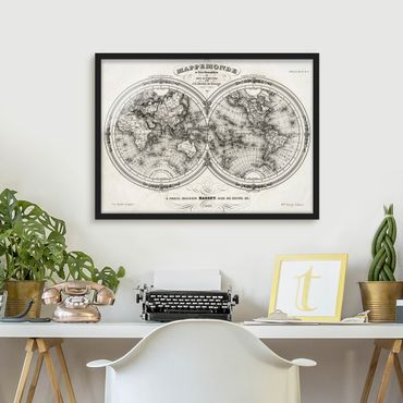 Poster con cornice - World Map - French Map Of The Cap Region Of 1848 - Orizzontale 3:4