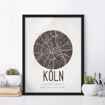 Poster con cornice - Cologne City Map - Retro - Verticale 4:3