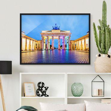 Poster con cornice - Illuminated Brandenburg Gate - Orizzontale 3:4