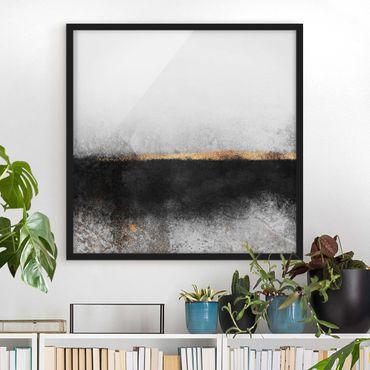 Poster con cornice - Estratto Golden Horizon Bianco e nero - Quadrato 1:1