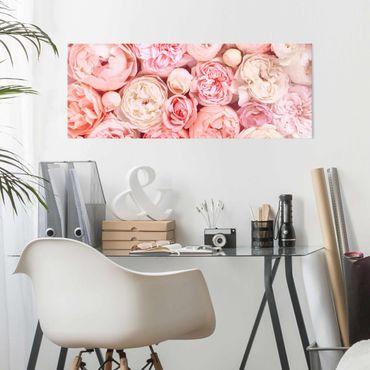 Quadro in vetro - Rose Rose Coral Shabby - Panoramico