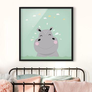 Poster con cornice - The Happy Hippo