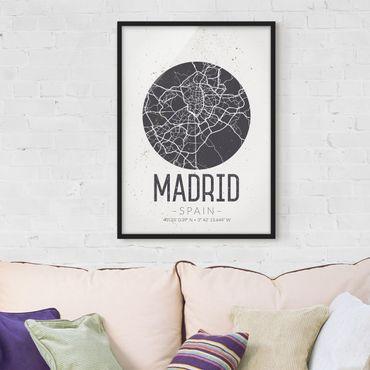 Poster con cornice - Madrid City Map - Retro - Verticale 4:3