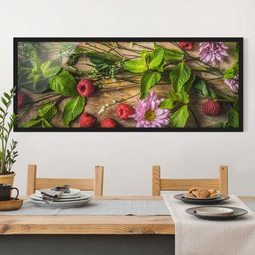 Poster con cornice - Lampone Menta Fiori - Panorama formato orizzontale